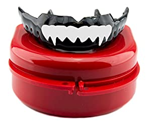 Impact Custom Professional 4mm Thin Profile Roller Derby Mouthguard with Trim for Gag Reflex White Fangs S/M