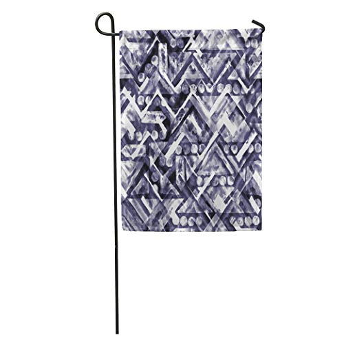 Semtomn Garden Flag Arabesque Geometric Tribal Ethnic Pattern Blue Saturated Chevron Watercolor Markers Home Yard House Decor Barnner Outdoor Stand 12x18 Inches Flag
