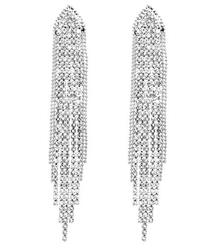 - KristLand - S925 Silver Plated Sleek Chain Tassel Drop Earrings Long Fringe Dangle Simple Style Bead Silver Color
