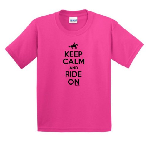 Price comparison product image Keep Calm and Ride On Youth T-Shirt Large Heliconia