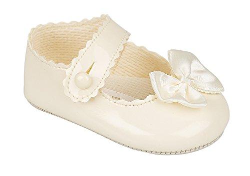 Luxus Britisch gemacht Baypod Weich Synthetik Leder Stil Baby Mädchen Creme / Elfenbein Weiß Rosa Besondere Anlässe Taufe Hochzeit Party Schuhe (3-6 Monate, Weiß) Creme / elfenbein