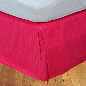 Brightlinen Hot Pink Superking (180 X 200 Cm) Box Pleated Bedskirt Stripe (drop Length: 30 Cms) 1pcs