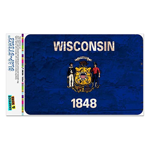 - GRAPHICS & MORE Rustic Wisconsin State Flag Distressed USA Home Business Office Sign - Window Sticker - 4