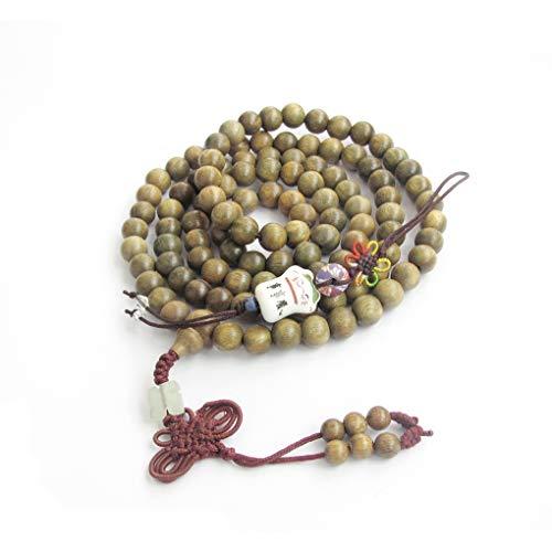 Stunning Green Jade Bracelet - 8mm Buddhist 108 Green Sandalwood Beads Prayer Wrist Meditation Mala with Free Fortune Cat Pendant
