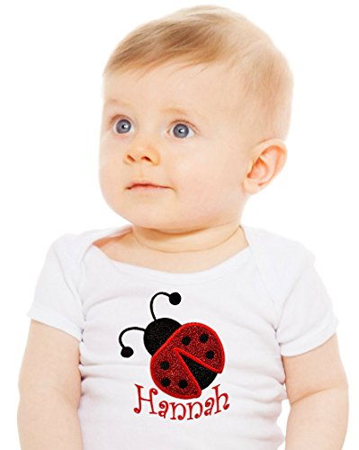 Embroidered Sparkling Ladybug Onesie Bodysuit for Baby Girls - Your Custom Name (3-6 Months) (Custom Baby Onesie Embroidered)