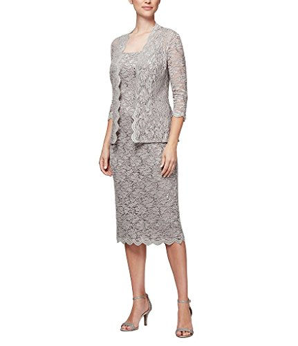 Alex Evenings Women's Tea Length Dress and Jacket (Petite and Regular Sizes), Mink 3/4 Sleeve, 12P