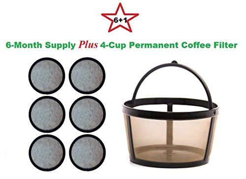 4-Cup Permanent Basket-Style Coffee Filter & A set of 6 Water Filters designed to fit Mr. Coffee 4 Cup Coffeemakers by True Modern Electronics