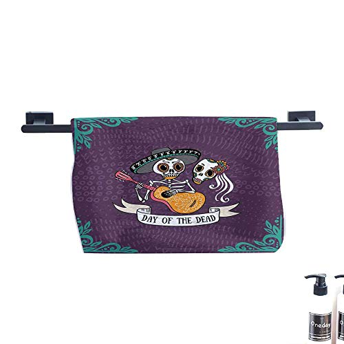 warmfamily Day of The Dead Soft Superfine Fiber Bath Towel Invitation to Traditional Celebration Party with Mexican Music Performance W27 x L55 Multicolor ()