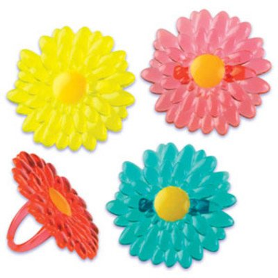 24pack Gerbera Daisy Cupcake / Desert / Food Decoration Topper Rings with Favor Stickers & Sparkle Flakes Gerbera Favors