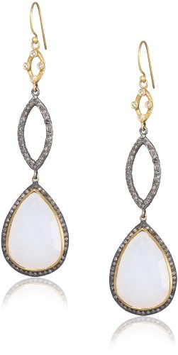 "Sara Weinstock ""Chandelier"" Moonstone Long Pear Shape Drop Earrings"