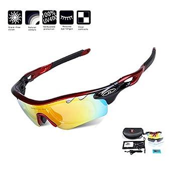 Locisne Gafas de sol deportivas polarizadas - Gafas de ciclismo con 5 lentes intercambiables UV400 Gafas de protección solar para correr Senderismo ...