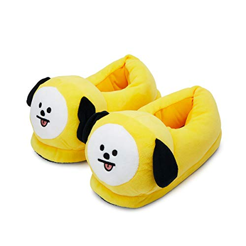 BT21 Official Merchandise by Line Friends - CHIMMY Character Plush House Slippers for Women and Men, Yellow
