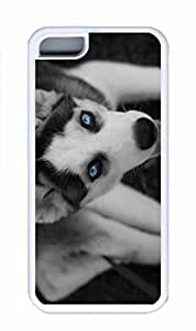 iPhone 5C Case, Personalized Custom Protective Rubber Soft TPU White Case Cover for iphone 5C - Young Husky