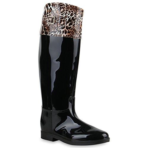 Stiefelparadies Gesteppte Damen Stiefel Lack Gummistiefel Metallic Boots Schnallen Animal Prints Schuhe Wasserdichte Regenschuhe Flandell Braun Leo