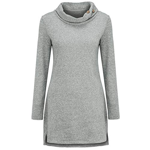 Felt Lined Cat Collar - HYIRI High Collar Sweatshirt ,Women's Solid Color Long Sleeve Long Top