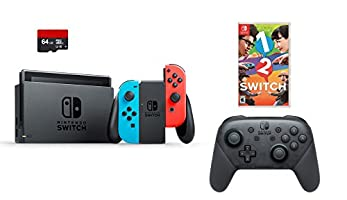 Nintendo Switch 4 items Bundle:Nintendo Switch 32GB Console Neon Red and Blue Joy-con,64GB Micro SD Memory Card and an Extra Nintendo Switch Pro Wireless Controller,1-2-Switch