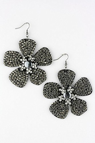 Karmas Canvas Two Tone Crystal Flower Iconic Crystal Earrings (Crislu Pave Ring)
