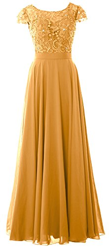 Of Gown Macloth Women Evening Formal Gold Dress Long Lace Cap Mother Sleeves Bride wzaXqnpz