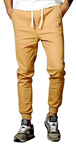 TBMPOY Men's Casual Twill Sports Pants Elastic Waist Jogger Pants(02 Khaki,us M)