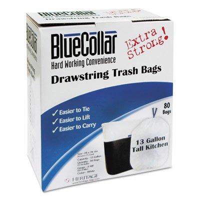 Drawstring Trash Bags, 13gal, 0.8mil, 24 X 28, White, 80/box, 6 Boxes/carton by Blue Collar Co.