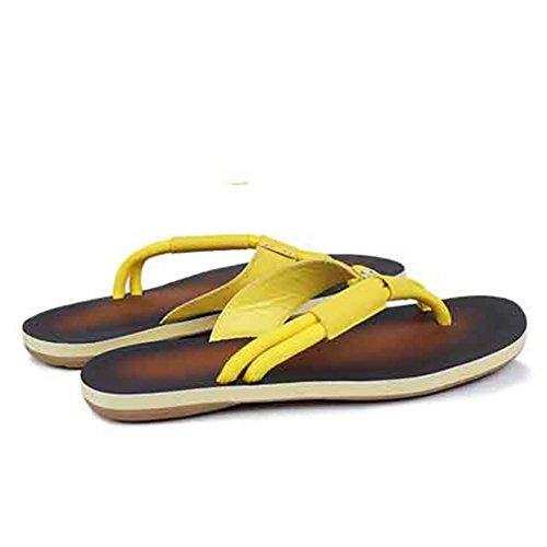 SHANGXIAN Hombres zapatillas y sandalias confort zapatos Casual plana talón negro amarillo caminar yellow mop