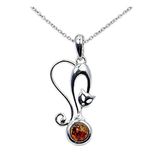 Sterling Silver Natural Baltic Amber Cat Pendant Necklace