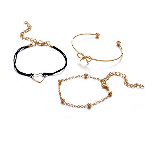 Bigood 3Pcs Femme Chic Bracelet C/œur N/œud Papillon Cha/îne Jolie R/églable