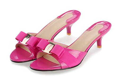SUNROLAN April Women's Leather Stiletto Pump Sandal Open Toe Bowknot Accent Slide Dress Low Heel Sandals Shoes Rose Violet ()