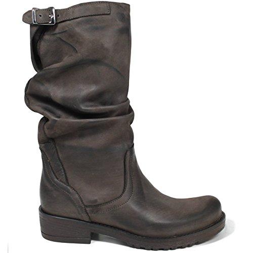 scarpe sportive d2fb1 db3c7 In Time Stivali Biker Boots metà Polpaccio Donna 0157 Marrone Testa di Moro  Arricciati in Vera Pelle Made in Italy