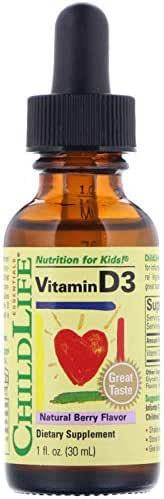 Child Life Vitamin D3, Berry Flavor, Glass Bottle, 1-Ounce (3 Pack)