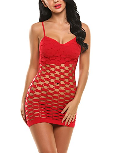 Avidlove Women's Fishnet Lingerie Mesh Hole Strap Chemise Badydoll Mini Dress Red by Avidlove