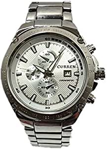 CURREN Man Watch Calendar Function Round Dial Metal Band Watch with Water Resistance