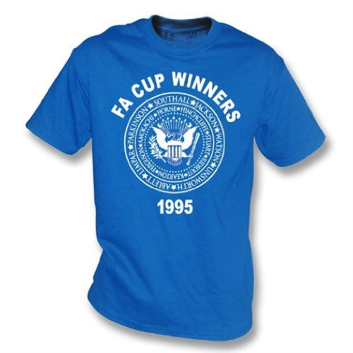 Punk Football Everton FA Cup Winners 1995(Ramones style) t-shirt - Girls Slimfit Large Royal ()