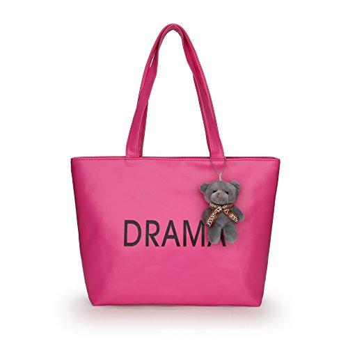 Nuevo paquete LiZhen mujer salvaje paquete grande minimalista de gran capacidad el paquete con el conocimiento de embarque hembra hombro marea Coreano, Rosa cuelgan Cubs Los cachorros de pared roja