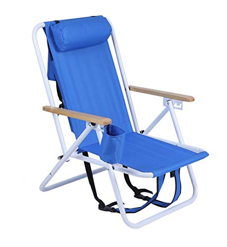 (WLMall Beach Chair Portable Folding, Extra Wide Seating Area Cup Holder and Storage Pouch Lightweight Aluminum Frame, High Capacity for Camping Lawn Beach Outdoor.)