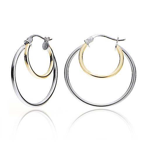 Hoops & Loops Sterling Silver Two-Tone Double Circle Round Polished Hoop Earrings, 25mm