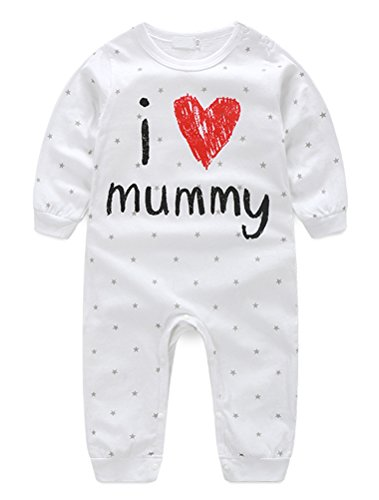 Abolai Unisex Infant Baby Cute Letter Printed Rompers Footless Coverall Bodysuits Jumpsuit White 70