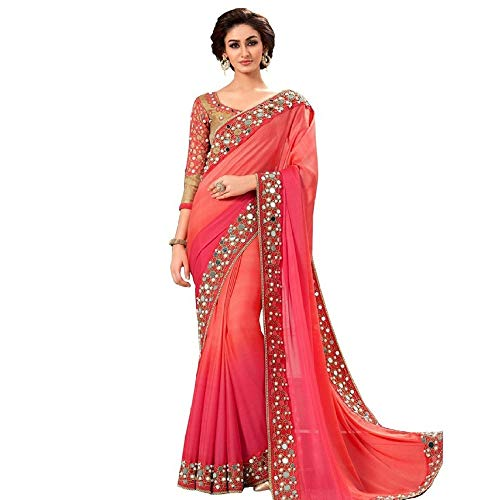Peach Colored Shaded Georgette Mirror Bordered Saree with Dhupion Worked Blouse