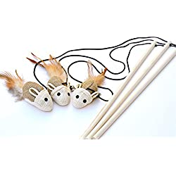 Earthtone Solutions Cat Kitten Teaser Wand Toys, Set of 3, Natural Sisal with Mouse, Bell, Feather, Elastic String, and Sturdy Wood Rod, Awesome Interactive Fun, Best Cat Catcher Mice for Pets