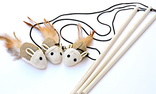 Earthtone Solutions Cat Kitten Teaser Wand Toys, Set of 3, Natural Sisal with Mouse, Bell, Feather, Elastic String, and Sturdy Wood Rod, Awesome Interactive Fun, Best Cat Catcher Mice for (Mouse Teaser)