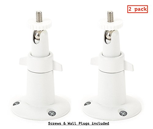 Indoor Ceiling Mount Bracket - Silipac Security CCTV Camera Wall Metal Mount Theft Ceiling Stand Bracket Swivel Smart Home Tripod Adjustable Holder Indoor Outdoor Clamp Compatible with Arlo Mounting Kit Accessories 2 Pack (White)