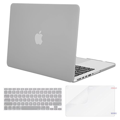 Hard Grey Rubber (Mosiso Plastic Hard Case with Keyboard Cover with Screen Protector Only for MacBook Pro 13 Inch with Retina Display No CD-Rom (A1502/A1425, Version 2015/2014/2013/end 2012), Neutral Gray)