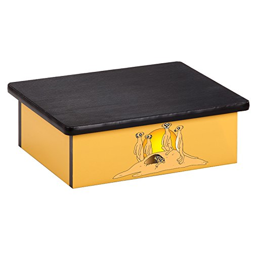 Pediatric Equipment - 20'' x 16'' x 7'' Serengeti Meerkats Yellow Laminate Pediatric Step Stool - CL-10-SM by Miller Supply Inc