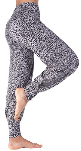 Hali Cali Women's Straight Casual Loose Wide Leg fold Over Comfy Palazzo Pants for Women (L, Leopard Gray with Buttons)