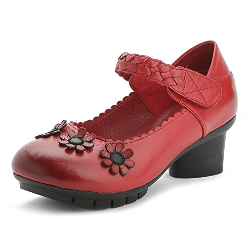 Dresses Satin Leather Shoes Wedding Comfortable And Women'S Comfortable 37 With Flat GL red Casual YC® Thick Round Sandals ZSWxHB