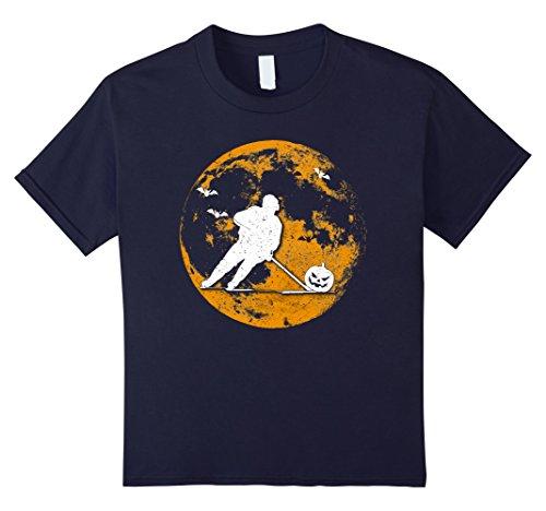Kids Hockey Player Pumpkin And Moon Halloween T-Shirt 10 Navy