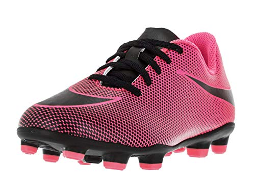 Nike Jr. Bravata II (FG) Firm-Ground Soccer Cleat Pink Blast/Black, 11 Little Kid