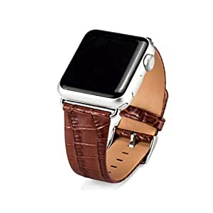 Qpika Single Tour Imitation Croco Leather Band Bracelet Watchband For Apple Watch Series 1/2 42MM (Brown)