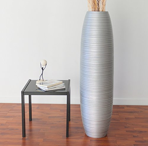 Cheap Leewadee Tall Floor Vase 44 inches, Wood, Silver