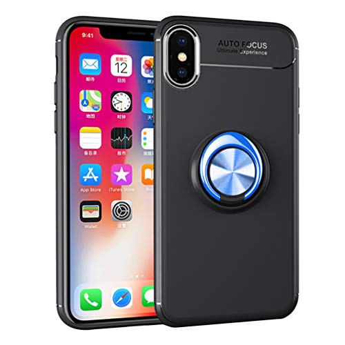 ANERNAI iPhone XS Max XS Plus (2018) 6.5 Inch Case, Ultra Thin Shockproof TPU Ring Kickstand Magnetic Car Mount Cover,Black-Blue